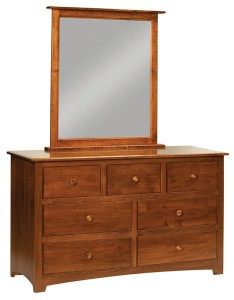 """OLD TOWN OAK - Monterey 7 Drawer Dresser w/ Mirror - Dimensions: Dresser only size 56""""w x 34""""h x 19""""d, Mirror: 35""""w x 39.5""""h"""