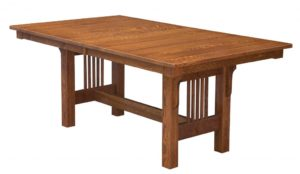 WEST POINT - Mission Trestle Table - Dimensions (in inches): 42x60, 42x66, 42x72, 48x60, 48x66, or 48x72 with up to 4 leaves - Custom finish options available, please see store for details.