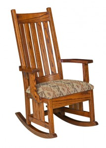 D & E - Harrisburg Mission Rocker: Overall size in inches: 46h x31d x 28w, Available with fabric seat or tie on pillows