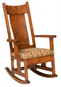 D & E - Springfield Rocker: Overall size in inches: 46h x31d x 28w, Available with fabric seat or tie on pillows