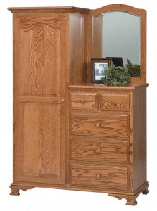 SCHWARTZ - Heritage L-Dresser - Dimensions: Available in single – right or left (right shown) 46.5w x 21.5d x 70h, 3 shelves, 1 clothing rod