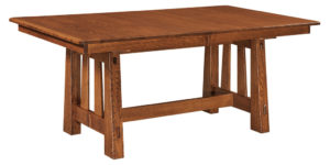 WEST POINT - Fremont Trestle Table - Dimensions (in inches): 42x60, 42x66, 42x72, 48x60, 48x66, or 48x72 with up to 4 leaves - Custom finish options available, please see store for details.