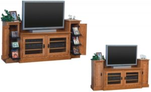 SCHWARTZ - Mission SC-48-M TV Stand w/Towers - Dimensions: 74w x 20d x 35.25h TV area width - Dimensions: 48 inches.