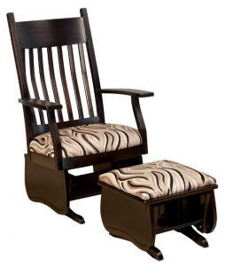 D & E - Oakland Slat Glider: Overall size in inches: 46.5h x 28d x 29w, Seat size:21.5w x 19.5d, Floor to fabric or leather seat top: 18, Available in fabric or leather seat only, headcrest cushion available