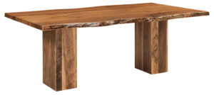 WEST POINT - Rio Vista Trestle Table - Dimensions (in inches): 42x84, 42x96, 48x84, and 48x96, solid top only in Wormy Maple or Rustic Walnut wood.
