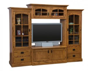 SCHWARTZ - Mission SC-M 4-piece TV Unit w/10 DVD Pullouts - Dimensions: 112w x 22.75d x 73.75h.