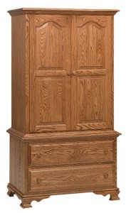 SCHWARTZ - Heritage Chest on Chest Armoire - Dimensions: 2 piece, 2 drawers, 2 doors 37w x 20d x 68h