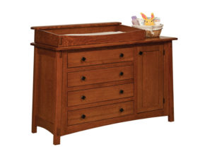"OLD TOWN OAK - McCoy 4 Drawer Dresser w/ Door - Dimensions: Dresser only size: 54""w x 35""h x 20.5""d, Dresser w/ box top: 54""w x 41""h x 20.5""d"