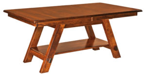 WEST POINT - Timber Ridge Trestle Table - Dimensions (in inches): 42x60, 42x66, 42x72, 48x60, 48x66, or 48x72 with up to 4 leaves - Custom finish options available, please see store for details.
