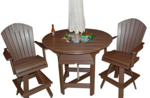 CREEKSIDE - Classic Swivel Bar Chairs and Table w/bowl Set (C102 - 22 inch classic swivel bar chairs) and (RT48BC - 48 inch round party bar table with bowl).