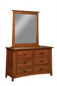 "OLD TOWN OAK - McCoy 6 Drawer Dresser w/ Mirror - Dimensions: Dresser only size: 54""w x 35""h x 20.5""d"