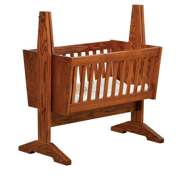 Old Town Oak Mission Baby Cradle Three Sisters Furnishings