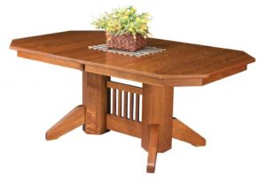 WEST POINT - Marbarry Double Pedestal Table - Dimensions (in inches): 42x60, 42x66, 42x72, 48x60, 48x66, or 48x72 with up to 4 leaves - Custom finish options available, please see store for details.