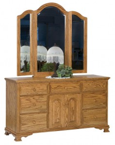 SCHWARTZ - Heritage Dresser - Dimensions: drawers, 2 doors, 60w x 20d x 33.5h, Tri-view Mirror with cap: 49w x 45hz