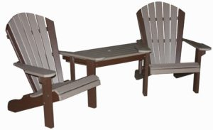 CREEKSIDE - Classic Beach Tete-A-Tete Table and Chair Set (C111) - 22 inch chairs with a functional table attached between both chairs. Table slides out for easy transport or to use as individual chairs.