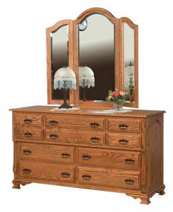 SCHWARTZ - Classic Heritage Dresser - Dimensions: 10 drawers, 66w x 22d x 36h, Tri-view Mirror with cap: 49w x 45h