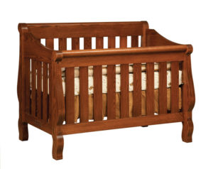 "OLD TOWN OAK - Hoosier Sleigh Crib - Dimensions: 55""w x 44""h x 38""d"