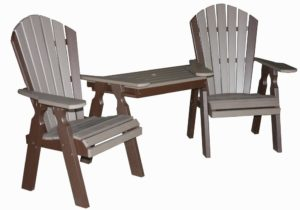 CREEKSIDE - Classic Dining Tete-A-Tete Table and Chair Set - Chairs - 22 inch chairs with a functional table attached between both chairs. Table slides out for easy transport or to use as individual chairs. Table Dimensions 24 inches x 17 inches x 38 inches. (C114).