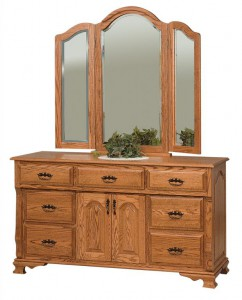 SCHWARTZ - Classic Heritage Dresser - Dimensions: 7 drawers, 2 doors, 60w x 22d x 34h, Tri-view Mirror with cap: 49w x 45h