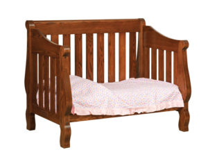 "OLD TOWN OAK - Hoosier Sleigh Toddler Bed - Dimensions: 55""w x 44""h x 38""d"