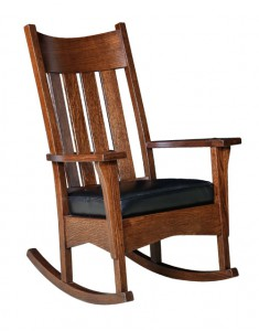 D & E - Artisan Mission Rocker: 44h x 31d x 29w, Seat size:17d x 21w, Available with Fabric or leather seat.