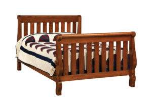 "OLD TOWN OAK - Hoosier Sleigh Double Bed - Dimensions: 55""w x 44""h"