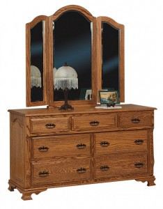SCHWARTZ - CLassic Heritage Dresser - Dimensions: 7 drawers, 60w x 22d x 34h Tri-view Mirror with cap 49w x 45h