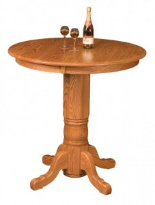"WEST POINT - Traditional Pub Single Pedestal Table (36"" high) - Dimensions: 36"",42"", or 48"" round, solid top only - Custom finish options available, please see store for details."