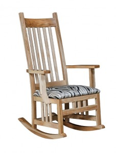 D & E - Regular Mission Rocker: 47h x 31d x 27.5w, Seat size:19d x 21w, Available with Fabric seat and/or tie on back cushion.