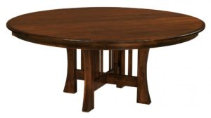"WEST POINT - Arts and Crafts Stationary Trestle Table - Dimensions: 48"" or 54"" round with up to 3 leaves, 60"" round with up to 2 leaves, or 72"" round solid top - Custom finish options available, please see store for details."