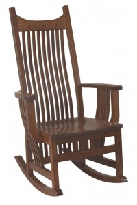 D & E - Royal Mission Rocker: 48h x 31d x 27.5w, Seat size:19d x 21w, Available with Fabric seat and/or tie on cushions.