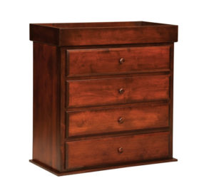 """OLD TOWN OAK - Reversable Changing Table 4 Drawer Dresser - Dimensions: Changing Table Converts to a four drawer chest, size:38""""w x 41""""h x 19""""d"""