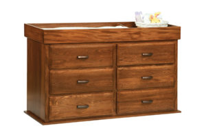 "OLD TOWN OAK - Reversable Changing Table 6 Drawer Dresser - Dimensions: Changing Table Converts to a six drawer chest, size:54""w x 33""h x 19""d"