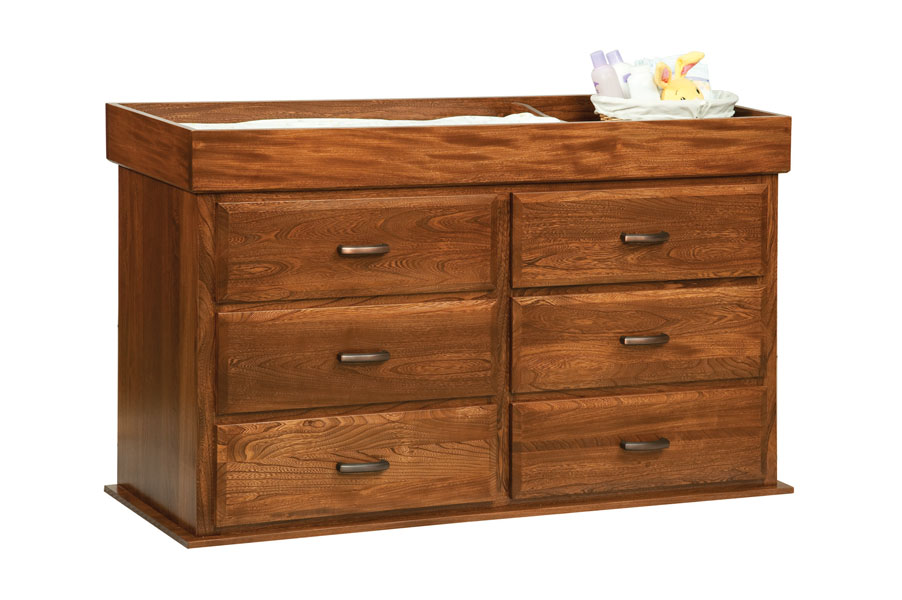 OLD TOWN OAK   Reversable Changing Table 6 Drawer Dresser   Dimensions: Changing  Table Converts