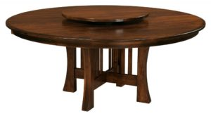 "WEST POINT - Arts and Crafts Stationary Trestle Table w/ Lazy Susan - Dimensions: 48"" or 54"" round with up to 3 leaes, 60"" round with up to 2 leaves, or 72"" round (solid top only) - Custom finish options available, please see store for details."