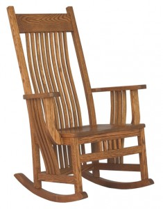 D & E - Jumbo Royal Mission Rocker: 48h x 31d x 29.5w, Seat size:19d x 23w, Available with Fabric seat and/or tie on cushions.