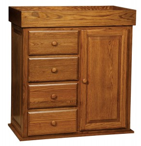 "OLD TOWN OAK - Reversable Changing Table 4 Drawer Wardrobe - Dimensions: Changing Table Converts to a four drawer wardrobe, size:38""w x 41""h x 19""d"