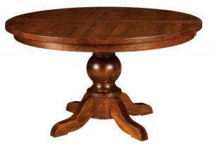 "WEST POINT - Carson Single Pedestal Table - Dimensions: 48"" or 54"" round with up to two 16"" leaves - Custom finish options available, please see store for details."