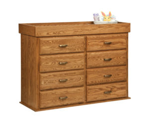 "OLD TOWN OAK - Reversable Changing Table 8 Drawer Dresser - Dimensions: Changing Table Converts to a eight drawer chest, size:54""w x 41""h x 19""d"