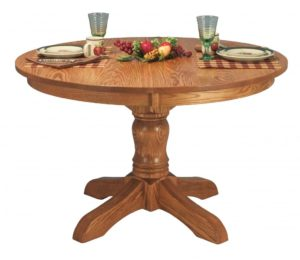 "WEST POINT - McKenzie Single Pedestal Table - Dimensions: 42"" or 48"" round with up to 3 leaves, or 54"" round with up to 2 leaves - Custom finish options available, please see store for details."