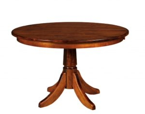 "WEST POINT - Baytown Single Pedestal Table - Dimensions: 42"" or 48"" round with up to 3 leaves, 54"" round with up to 2 leaves, or 36x48 or 42x54 inch oval top with up to 2 leaves - Custom finish options available, please see store for details."