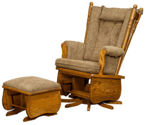 D & E - 4 Post High Back Swivel Glider: 44h x 30d x 32w, Seat size:21d x 23w, Available in regular or swivel glider with flip-out foot rest or ottoman. Low back also available.