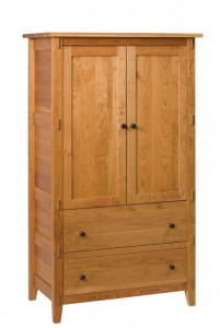 SCHWARTZ - Bungalow Armoire - Dimensions: One piece, 2 drawers, 2 doors 38w x 22d x 67h