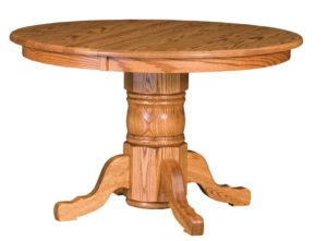 "WEST POINT - Traditional Single Pedestal Table - Dimensions: 36"" round with up to 2 leaves, or 42"", 48"", or 54"" round with up to 3 leaves - Custom finish options available, please see store for details."