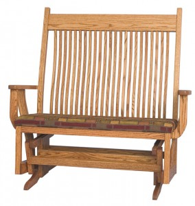 D & E - Love Seat Royal Mission Glider: 48h x 29d x 49w, Seat size: 41w x 19d, Wood or fabric seat, Available in other styles.