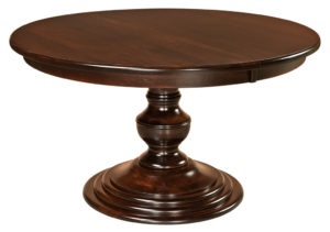 "WEST POINT - Kingsley Single Pedestal Table - Dimensions: 48"", 54"", and 60"" round with up to 2 leaves - Custom finish options available, please see store for details."