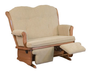 D & E - Swan Back Love Seat Glider: 41h x 30d x 50w, Optional double flip-out foot rest.