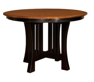 """WEST POINT - Arts and Crafts X-base Pub Table - Dimensions: 48"""" or 54"""" round top with up to 3 leaves and 60"""" round with up to 2 leaves - Custom finish options available, please see store for details."""