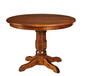 "WEST POINT - Preston Single Pedestal Table - Dimensions: 42"" or 48"" round with up to 3 leaves, or 54"" round with up to 2 leaves - Custom finish options available, please see store for details."