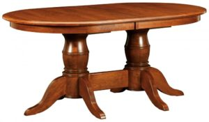 WEST POINT - Harrison Double Pedestal Table - Dimensions (in inches): 42x60, 42x66, 42x72, 48x60, 48x66, or 48x72 with up to 4 leaves - Custom finish options available, please see store for details.